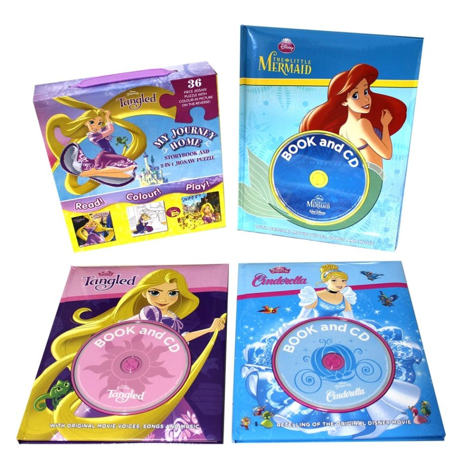 Disney Princess 3 Book & CD Sets Plus 2-in-1 Jigsaw & Storybook