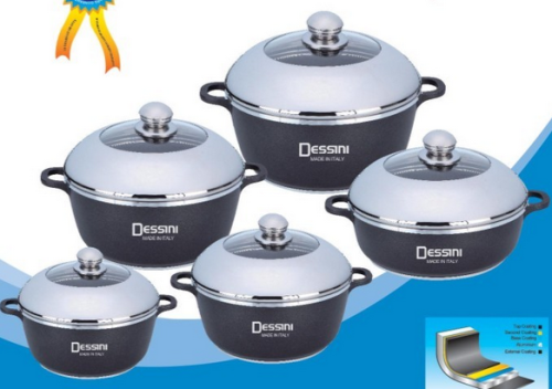 Dessini 10 Piece Die Cast Aluminium Non Stick Cookware Set