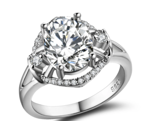 White Gold Filled Ring 25 Simulated Diamonds