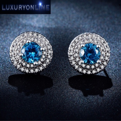 White Gold Filled Simulated Diamond And Simulated Aquamarine Button Earrings