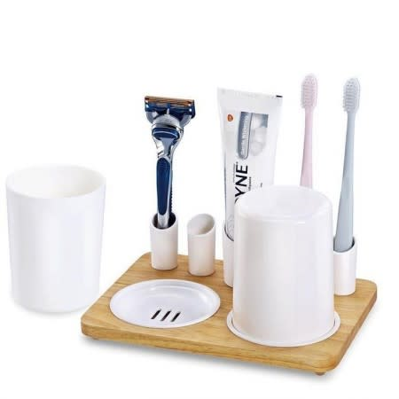 Toothbrush Holder With Wooden Base