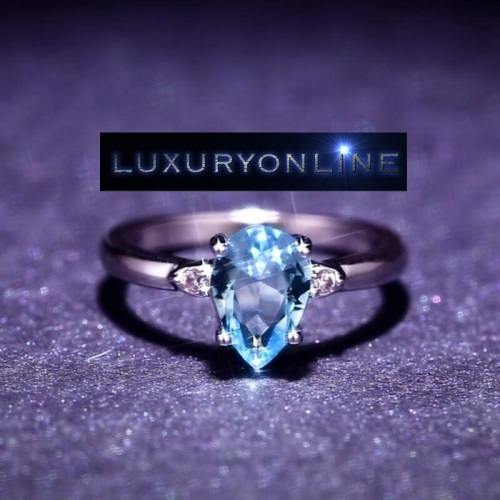 White Gold Filled Simulated Aquamarine Ring With Hand Crafted Simulated Diamonds Size 6; 7; 9 US