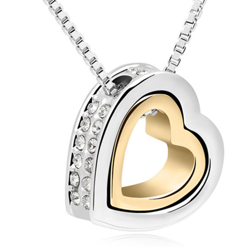Double Heart Swarovski Elements Necklace with Pendant
