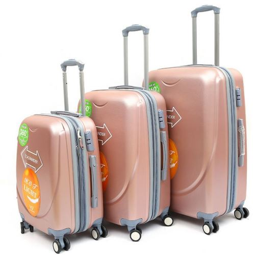 Set of 3 Suitcases Travel Trolley Luggage, ABS with Universal Wheels