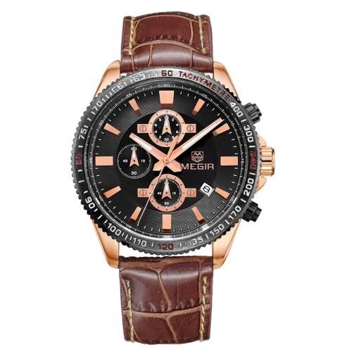Megir Men's Black & Rose Gold Leather Chronograph Watch