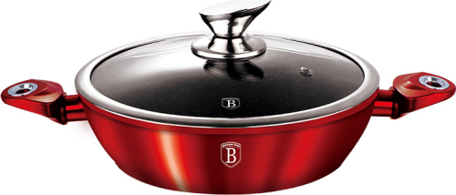 28cm Berlinger Haus Marble Coating induction Shallow Pot with Lid Burgandy Metallic Line