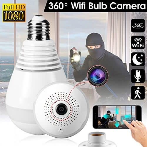 WI-FI Wireless Two-Way Intercom 360° HD Panoramic IP Bulb Camera