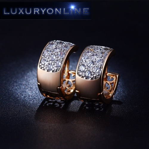 Hoop Earrings With 13 Simulated Diamonds