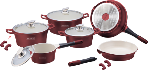 Royalty Line 14-Piece Marble Coating Cookware Set Burgundy
