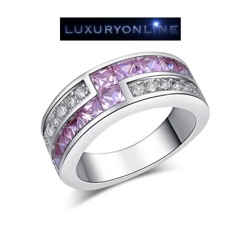 White Gold Filled Ring With Simulated Pink & White Diamonds