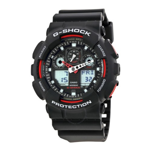 CASIO G-Shock GA100-1A4 Black And Red Mens Watch