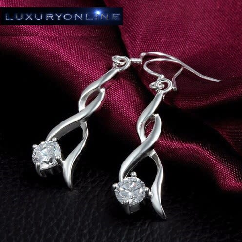 Simulated Diamond Infinity Drop Earrings