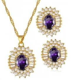 15ct Purple Necklace & Earrings Jewelry Set