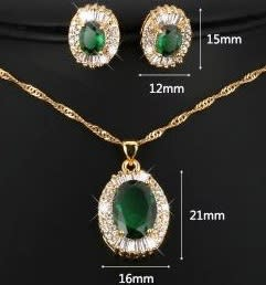 10ct Green Necklace & Earrings Jewelry Set