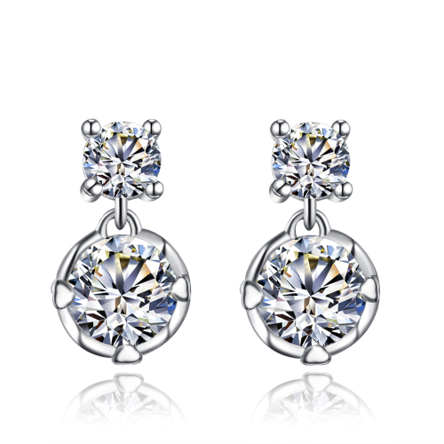 White Gold Filled 1,75ct Simulated Diamond Drop Earrings