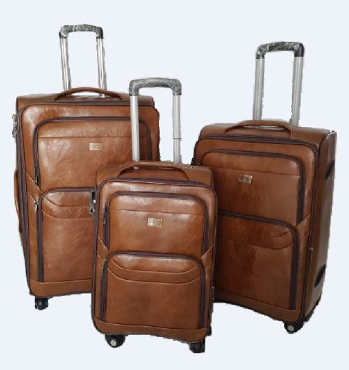 Light Brown PU3 Leather Suitcase