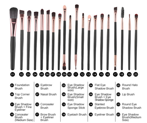 ROSALIND 20Pcs Makeup Brushes Set - 4 Color Sets Available
