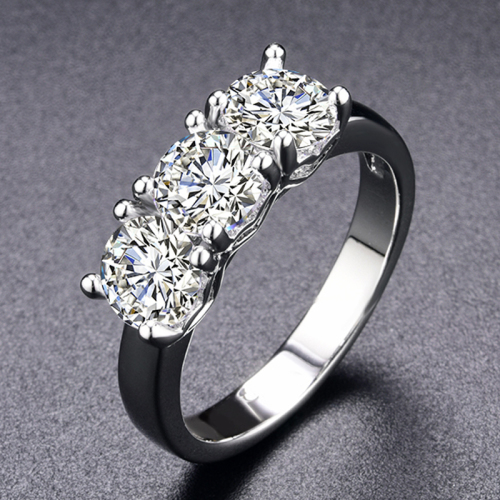 Sophisticated 2.25Ctw Simulated Diamond Trilogy Ring