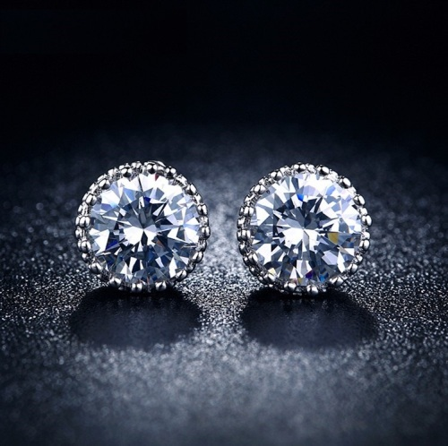 White Gold Filled 2,00ct Simulated Diamond Crown Earrings