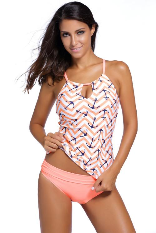 Pink Anchor Print 2pc Tankini Swimsuit