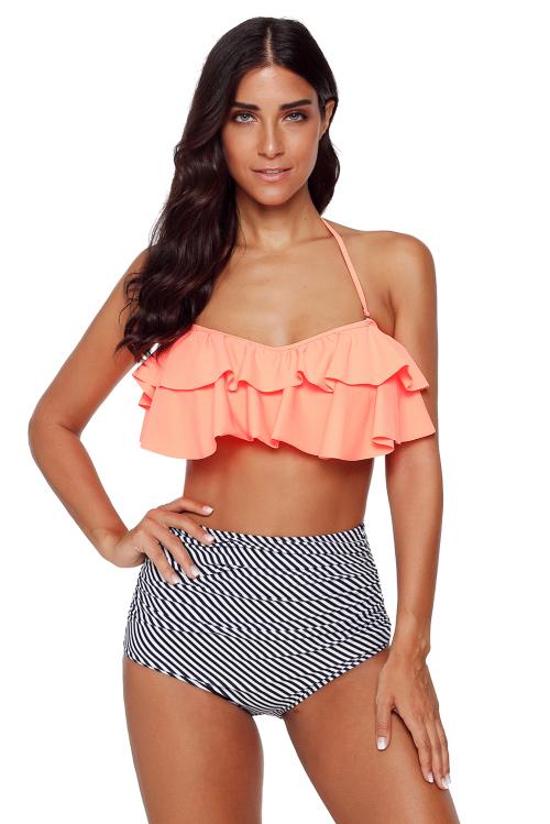 Orange & Zebra Striped Boho Flounce High Waist Bikini