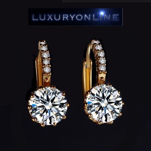Hoop Earrings With 5 Simulated Diamonds