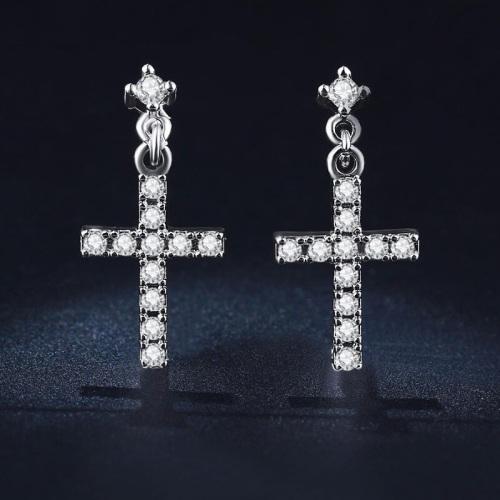 Cross Earrings With 11 0,75ct Simulated Diamonds