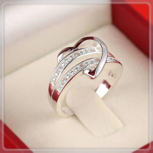 Whimsical Silver Rhinestone Heart Ring