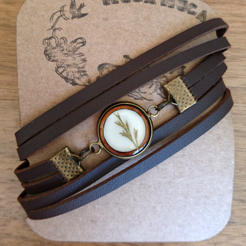 Leather Botanical Wrap Bracelets