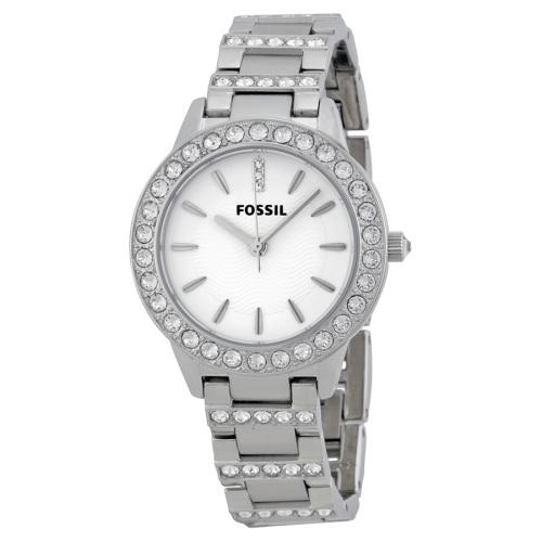 Fossil Glitz White Dial Stainless Steel Ladies Watch - ES2362