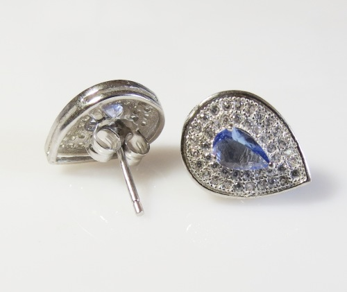 Natural Genuine Tanzanite and Sterling Silver Earrings - 2 Options