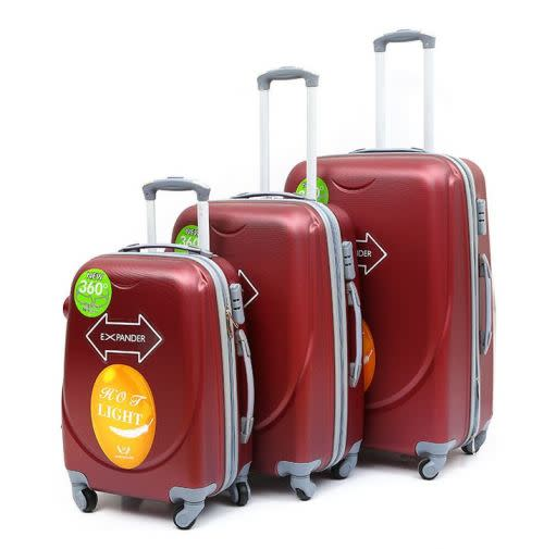 Set of 3 Lightweight Travel Luggage Bags - Universal Wheels