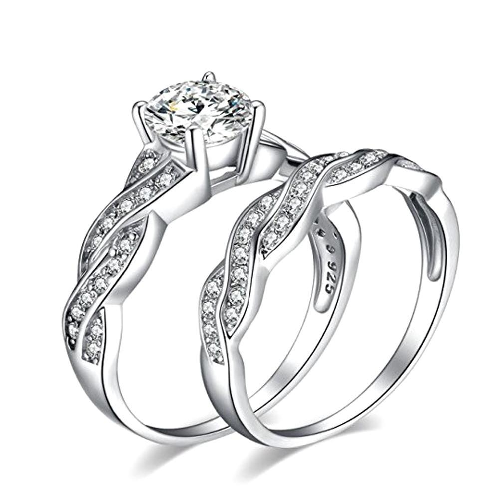 Anniversary Promise Wedding Band Engagement Ring Bridal Sets Love Ring - A