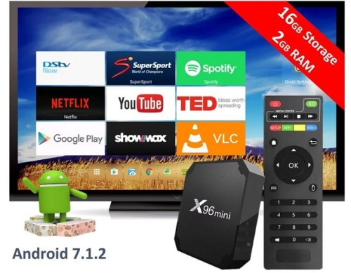X96 mini Android TV box, WiFi KODI 17.6 Android 7 Nougat 2gig RAM and 16GIG HDD, DSTV NOW & SHOWMAX