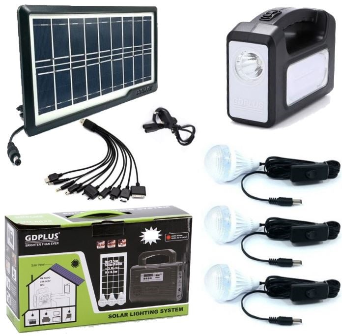 Home Solar System - Battery Control Unit, 3 LED Lamps, Solar Panel, Remote & 10 in 1 Charging Cable