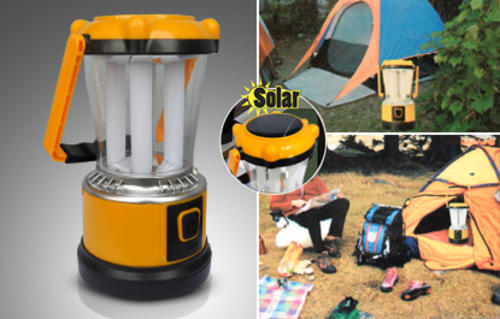 Solar Rechargeable LED Camping Lantern Light Power bank Cellphone Charger with back up battery bank