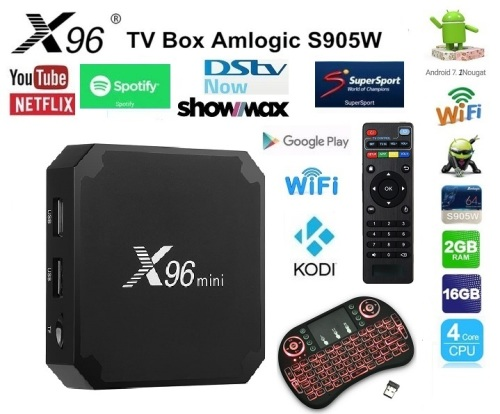X96 mini Android TV box 2gig RAM and 16GIG HDD with Backlit Keyboard REMOTE, DSTV NOW & SHOWMAX