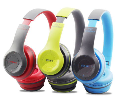 Wireless Bluetooth Bass Headphones with controls, Microphone, FM Radio, TF Card slot Assorted colors