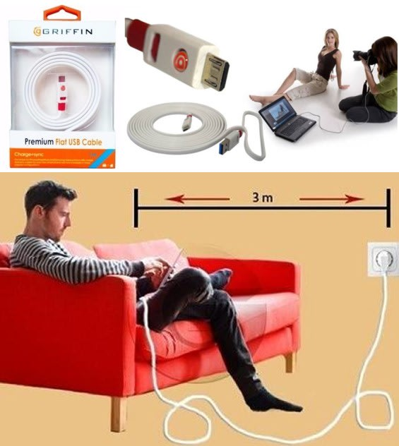 3m Premium Flat USB Cable for Charging of Devices, Move around the room while you charge your device