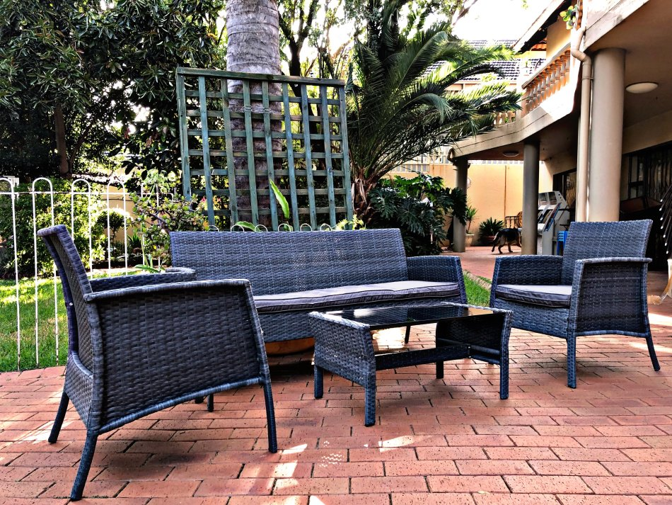 Patio Furniture Ratten Dining Sets 4PCS With Cushion, Outdoor Garden Wicker Sofa