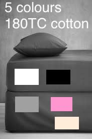 BEDDING. FITTED SHEET SET. 180TC COTTON. 5 COLOURS. DOUBLE, QUEEN, KING, SUPER KING