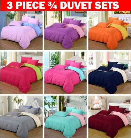 Brand New 100% Cotton 3 Piece Duvet Sets for ¾ Bed in Different Plain Colours