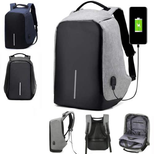 Anti-theft Mens Womens Laptop Notebook Backpack + USB Charging Port School Bag