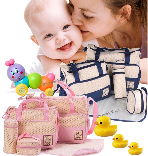 Multi-functional 5 in 1 Baby Bag Set - Waterproof, elegant and durable