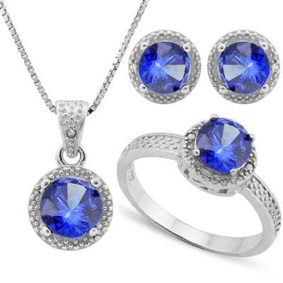 Lab Tanzanite & Diamond 925 Sterling Silver Jewellery Set