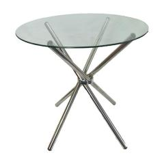 4 Seater Cafe Table - Round Glass Top Clear