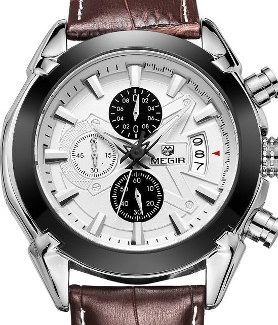 MEGIR Brown/Black Leather Chronograph Mens Watch