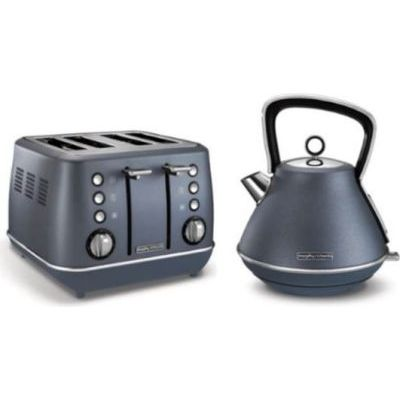 Morphy Richards Evoke 2 Piece Breakfast Pack - Kettle and 4 Slice Toaster (Steel Blue)