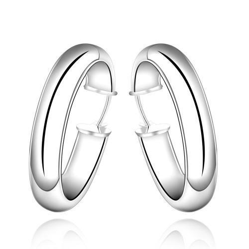 Silver Designer Large Round Hoop Earrings