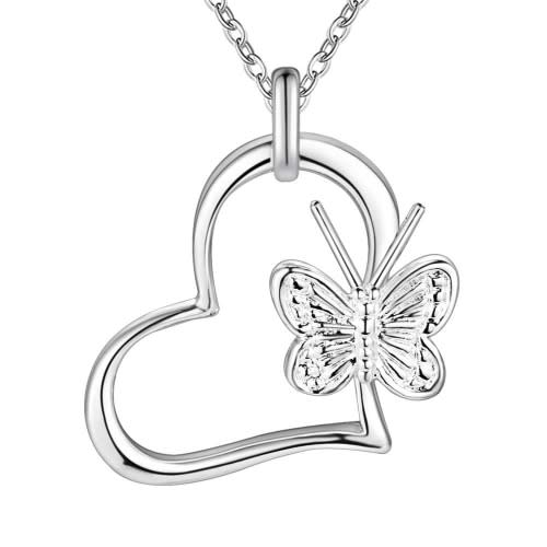 Silver Designer Heart with Butterfly Necklace